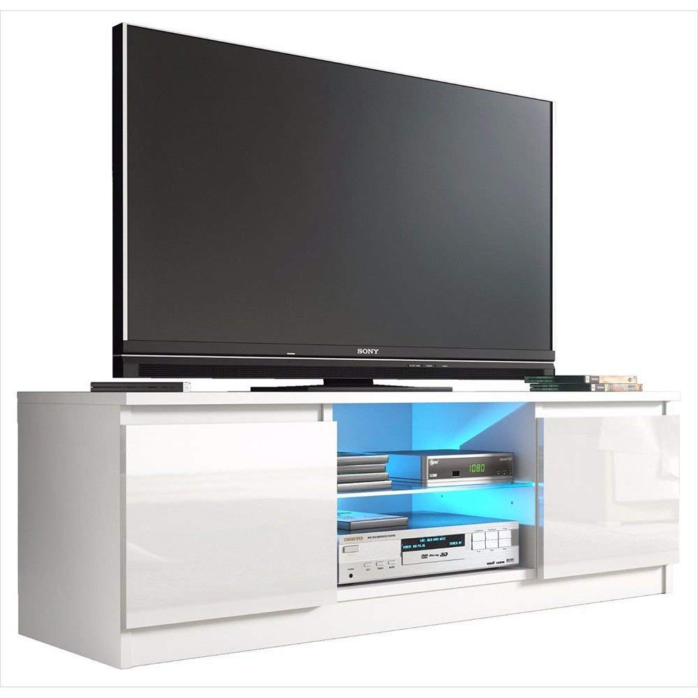 Buy Outad High Gloss Tv Stand With Led Light And 2 Drawers Throughout Tv Stands With 2 Open Shelves 2 Drawers High Gloss Tv Unis (View 7 of 15)