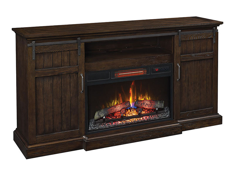 Cabaret Electric Fireplace Entertainment Center With Regard To Twin Star Home Terryville Barn Door Tv Stands (View 2 of 15)