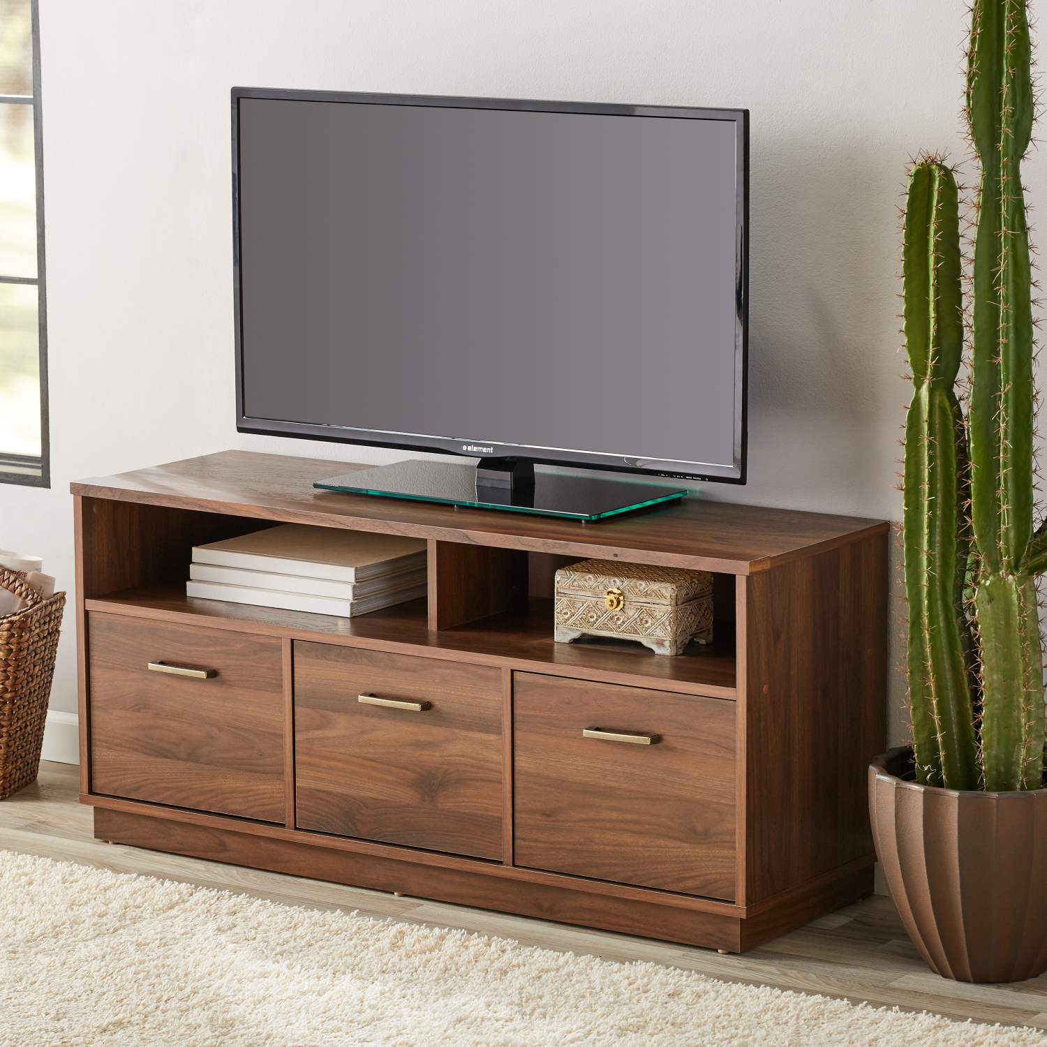 """Canyon Walnut 3 Door Tv Stand Console For Tvs Up To 50 Regarding Colleen Tv Stands For Tvs Up To 50"""" (View 3 of 15)"""