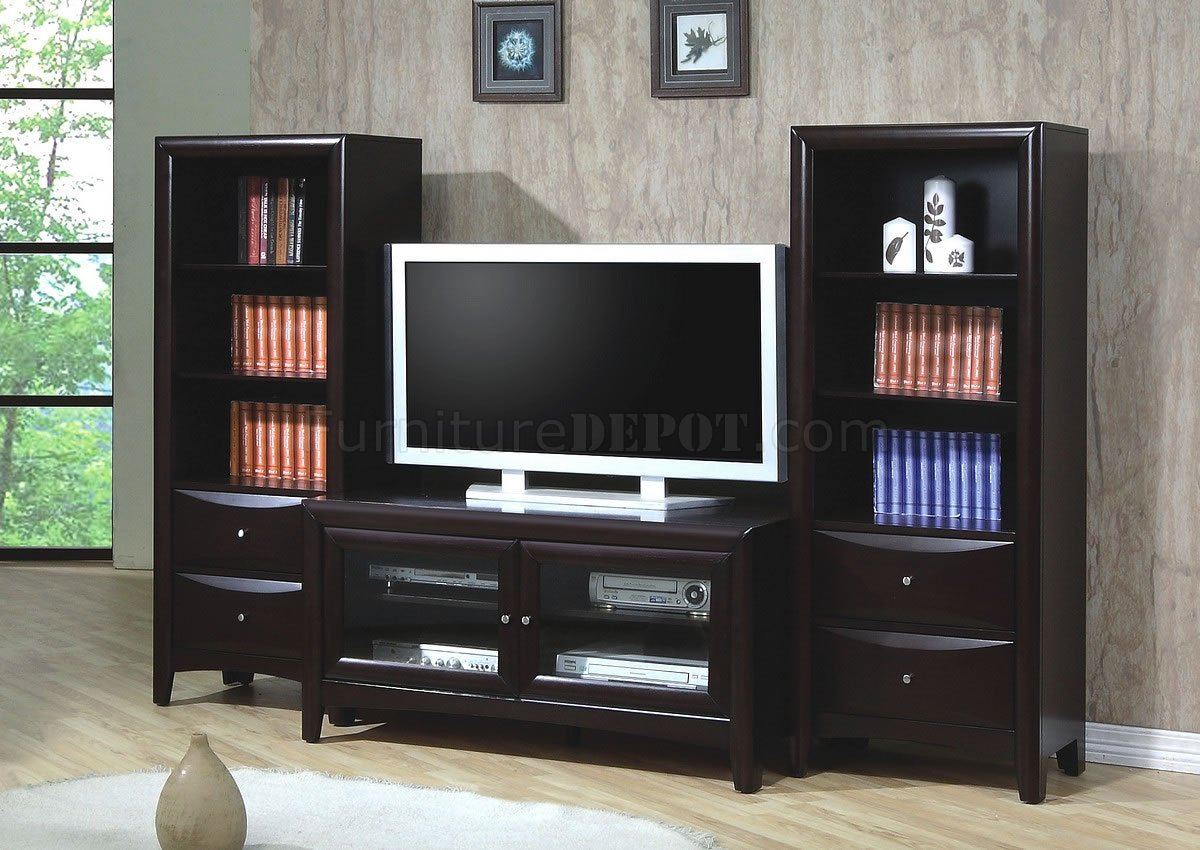 Cappuccino Finish Contemporary Tv Stand W/optional Media Pertaining To Baby Proof Contemporary Tv Cabinets (View 2 of 15)