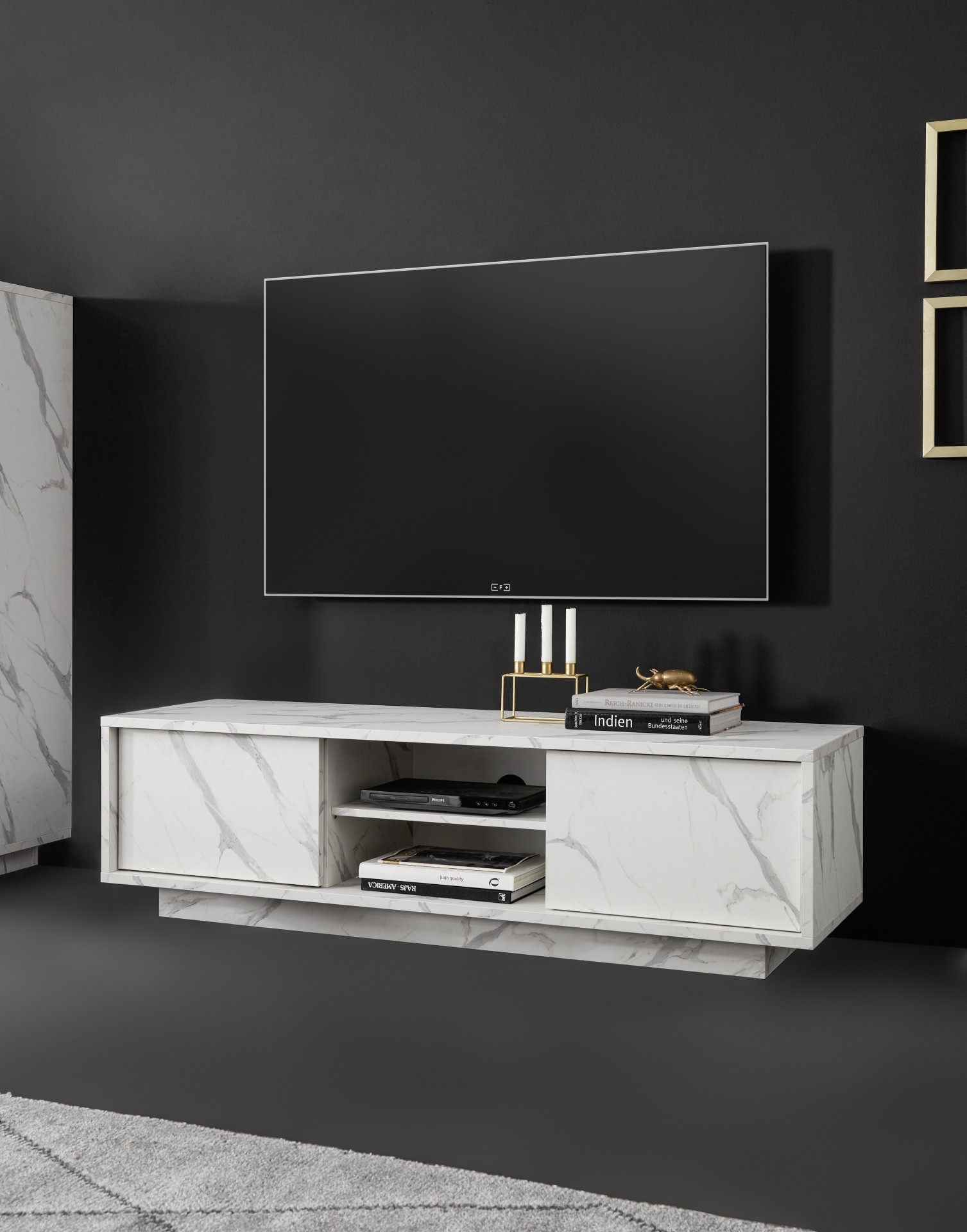 Carrara 139cm Modern Tv Unit In White Marble Imitation Inside Tv Stands With 2 Open Shelves 2 Drawers High Gloss Tv Unis (View 2 of 15)
