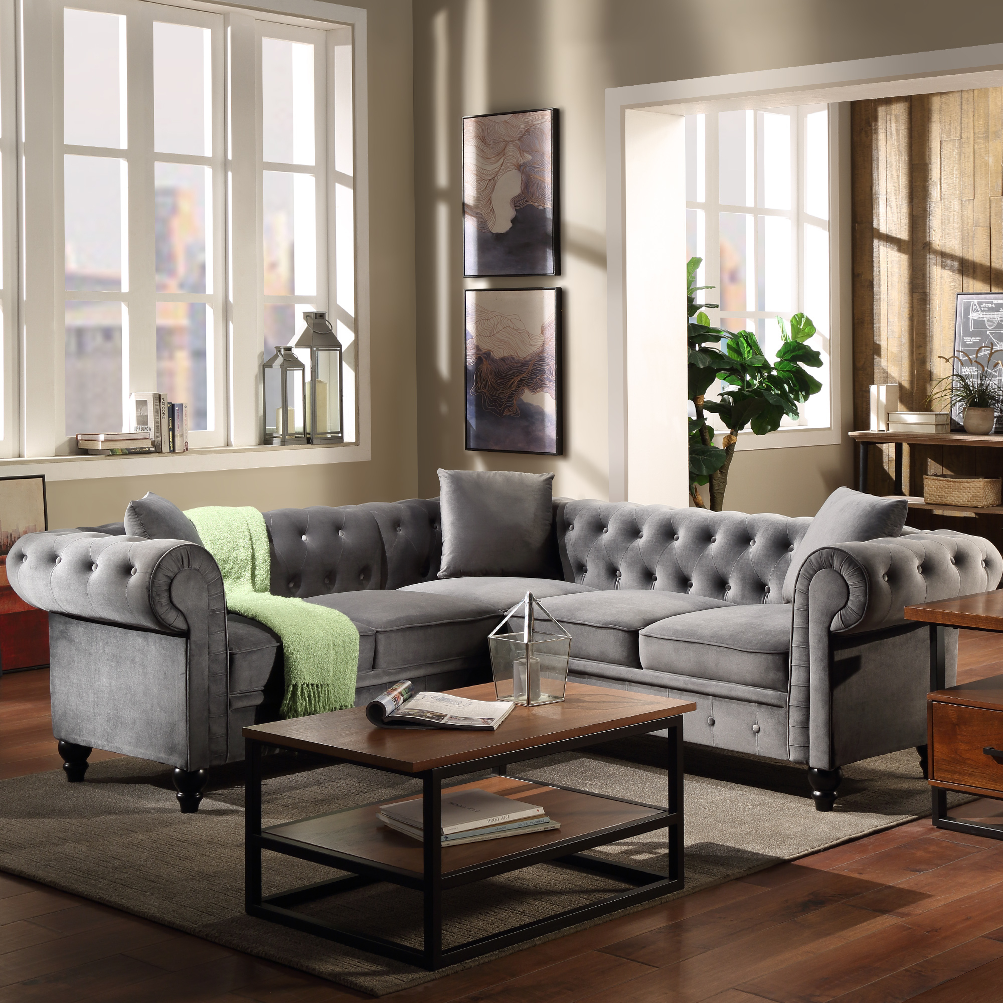Chesterfield Sofa For Living Room, Mid Century L Shape In Noa Sectional Sofas With Ottoman Gray (View 5 of 15)