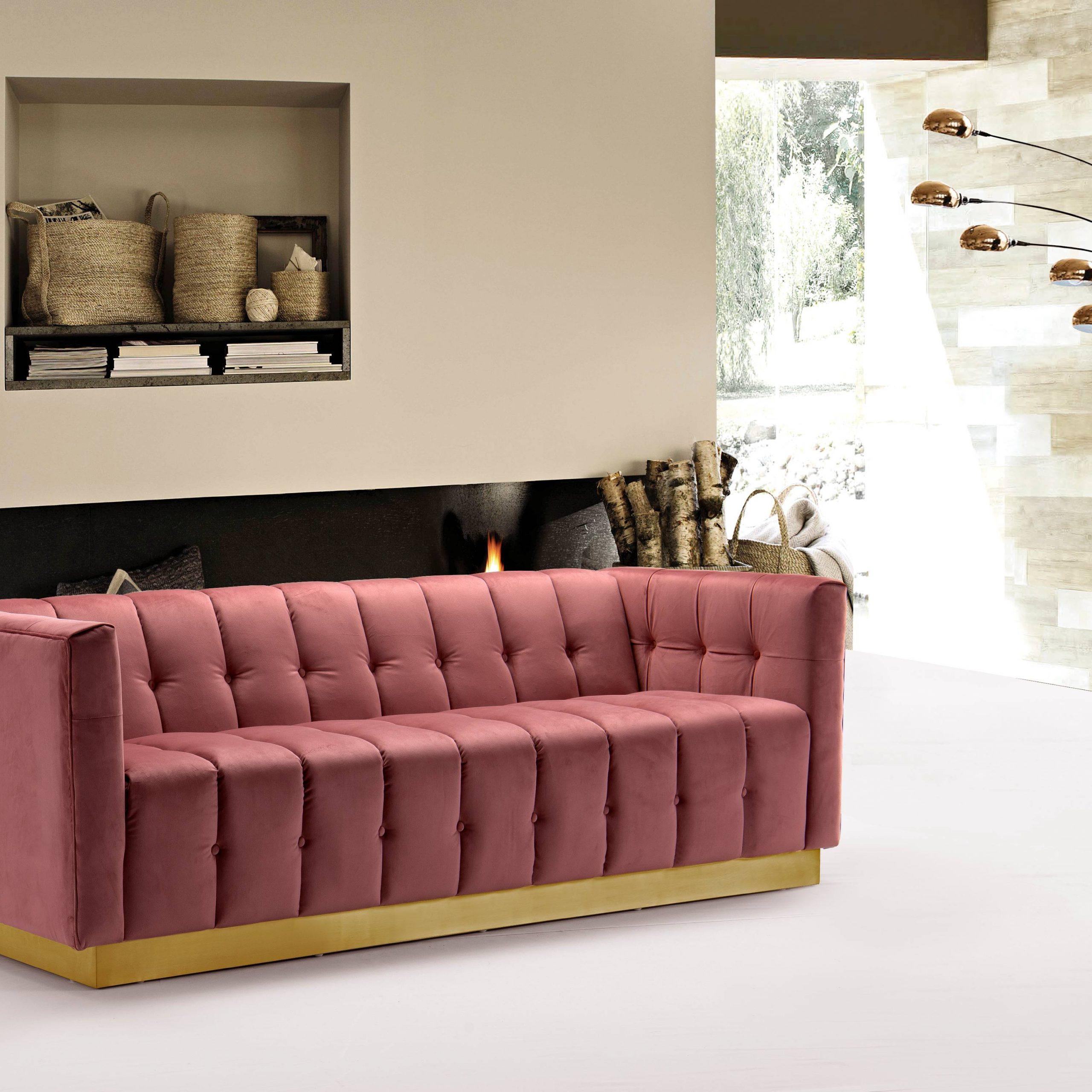 Chic Home Aviv Velvet Upholstered Channel Quilted Single For French Seamed Sectional Sofas In Velvet (View 2 of 15)