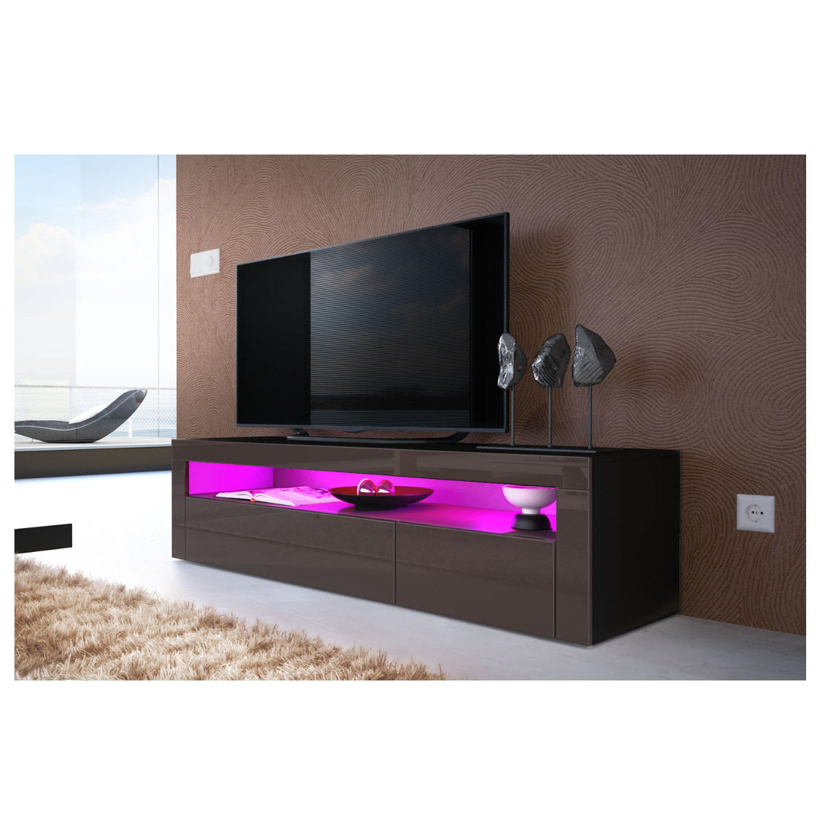 China High Gloss Uv Black Led Light Sideboard Tv Unit In Polar Led Tv Stands (View 14 of 15)