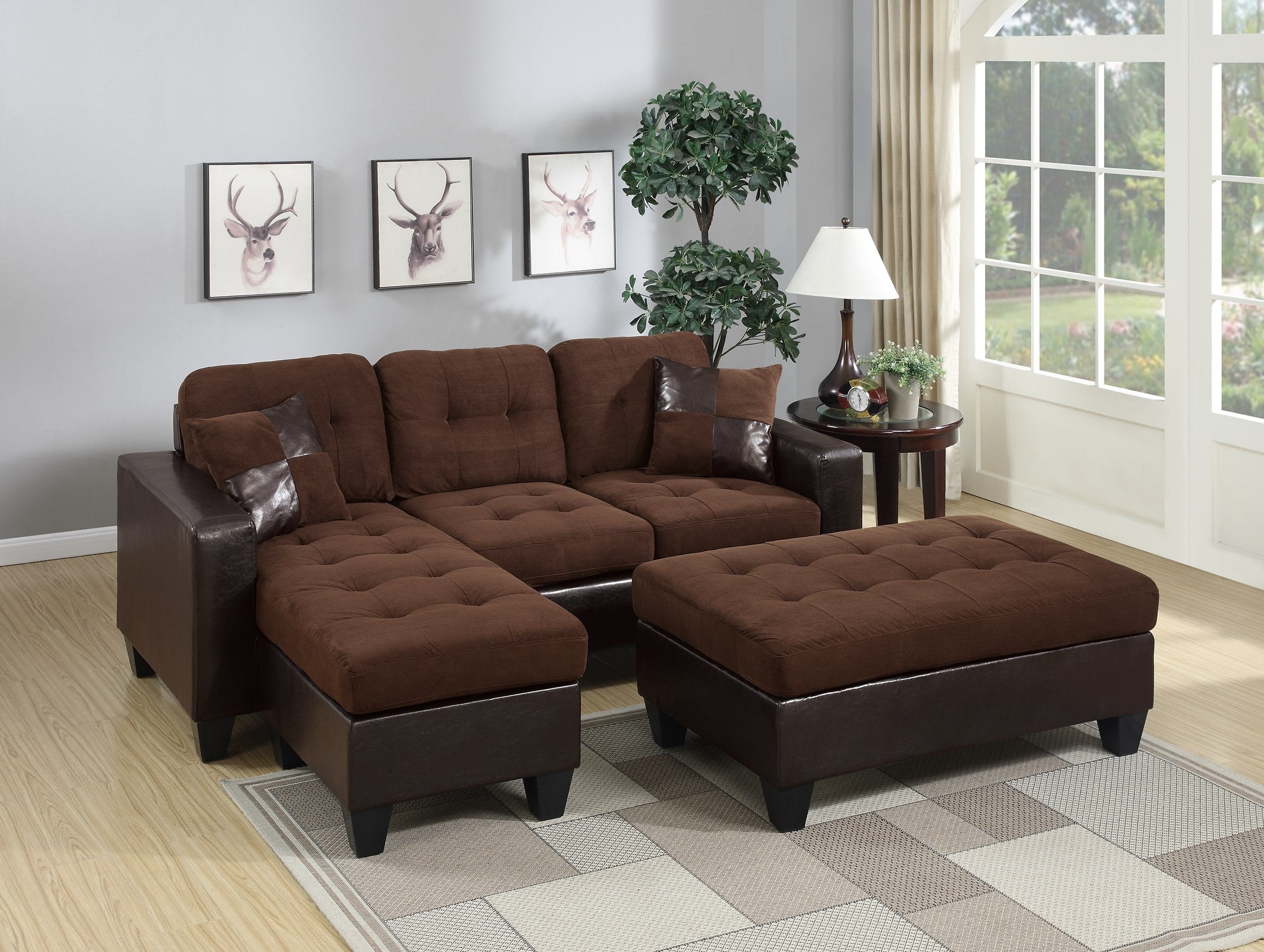 Chocolate Bonded Leather 3pc Reversible L Shaped Sectional Pertaining To Hannah Right Sectional Sofas (View 6 of 15)