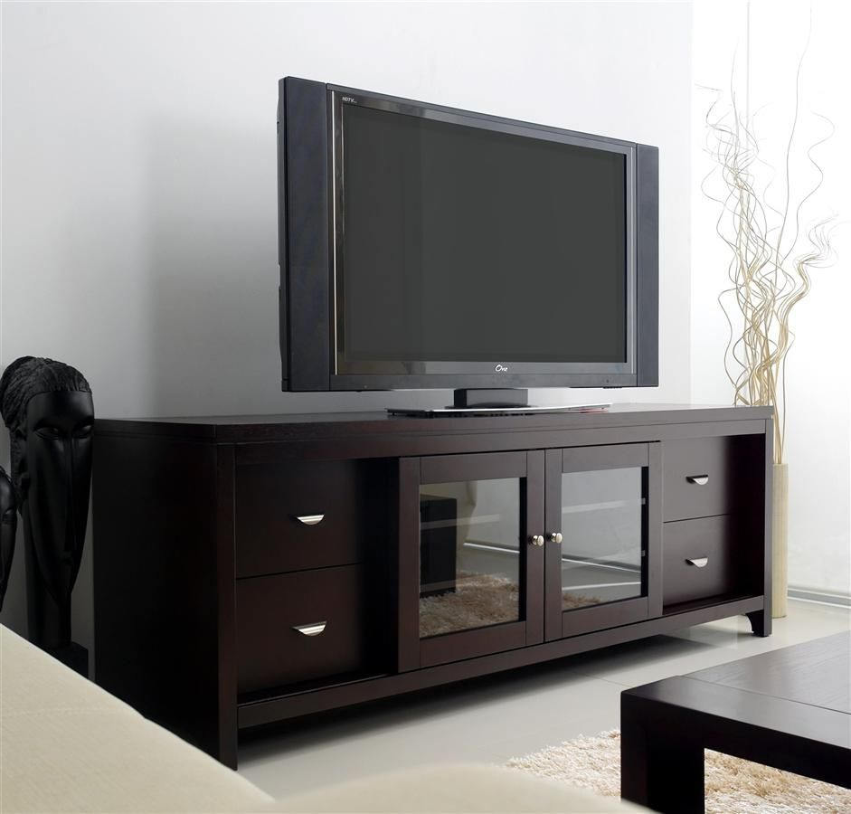 Clarkston Lcd Tv Stand In Solid Oak W Cappuccino Finish With Regard To Tv Cabinets With Glass Doors (View 11 of 15)