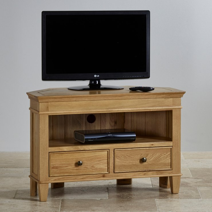 Classic Corner Tv Cabinet In Solid Oak | Oak Furniture Land Throughout Corner Tv Cabinet With Hutch (View 1 of 15)