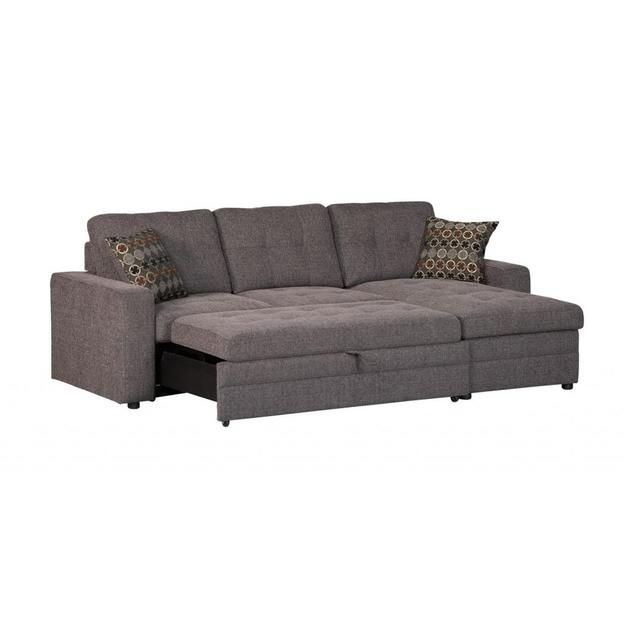 Coaster Coaster Gus Charcoal Chenille Upholstery Small Within Hugo Chenille Upholstered Storage Sectional Futon Sofas (View 5 of 15)