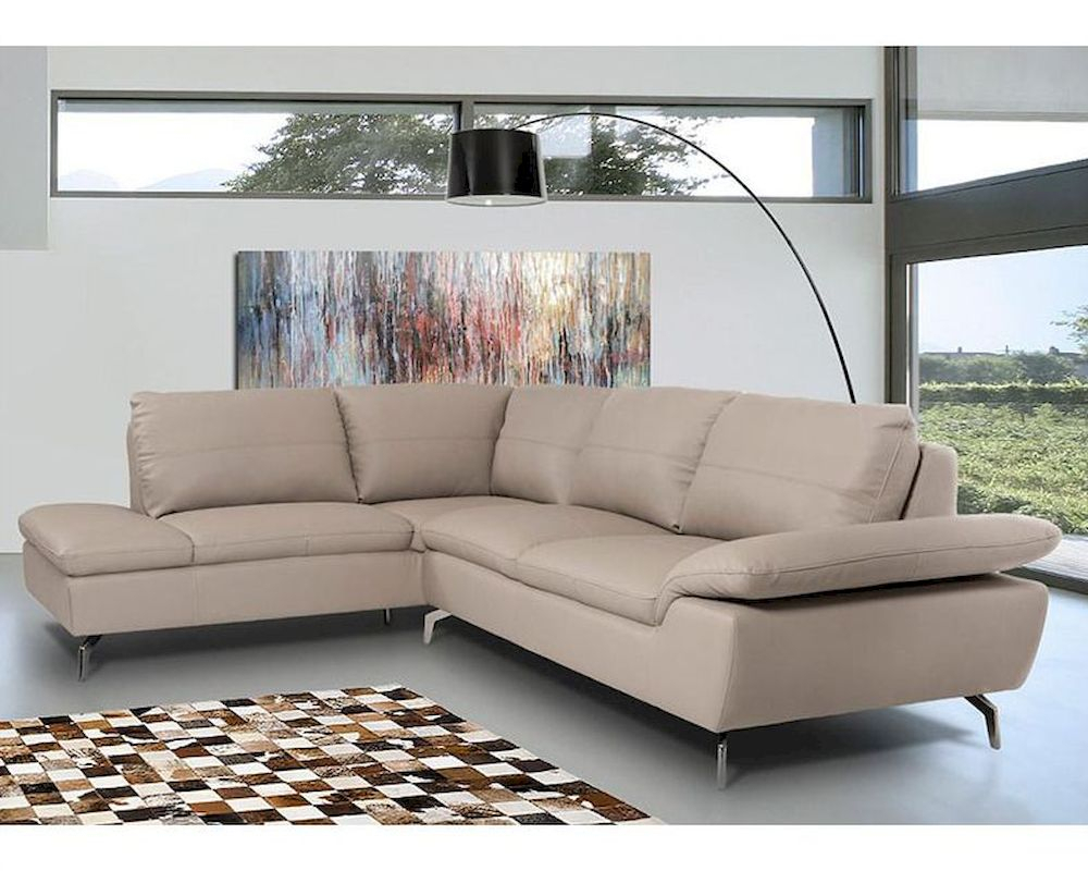 Contemporary Sectional Sofa In Grey Leather 44l5990 Within Noa Sectional Sofas With Ottoman Gray (View 3 of 15)