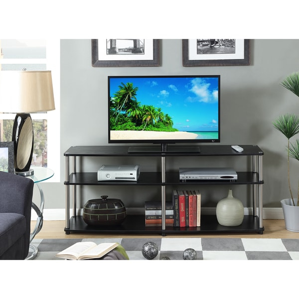 Convenience Concepts Designs 2go Black Stainless Steel 3 Regarding Tier Entertainment Tv Stands In Black (View 3 of 15)
