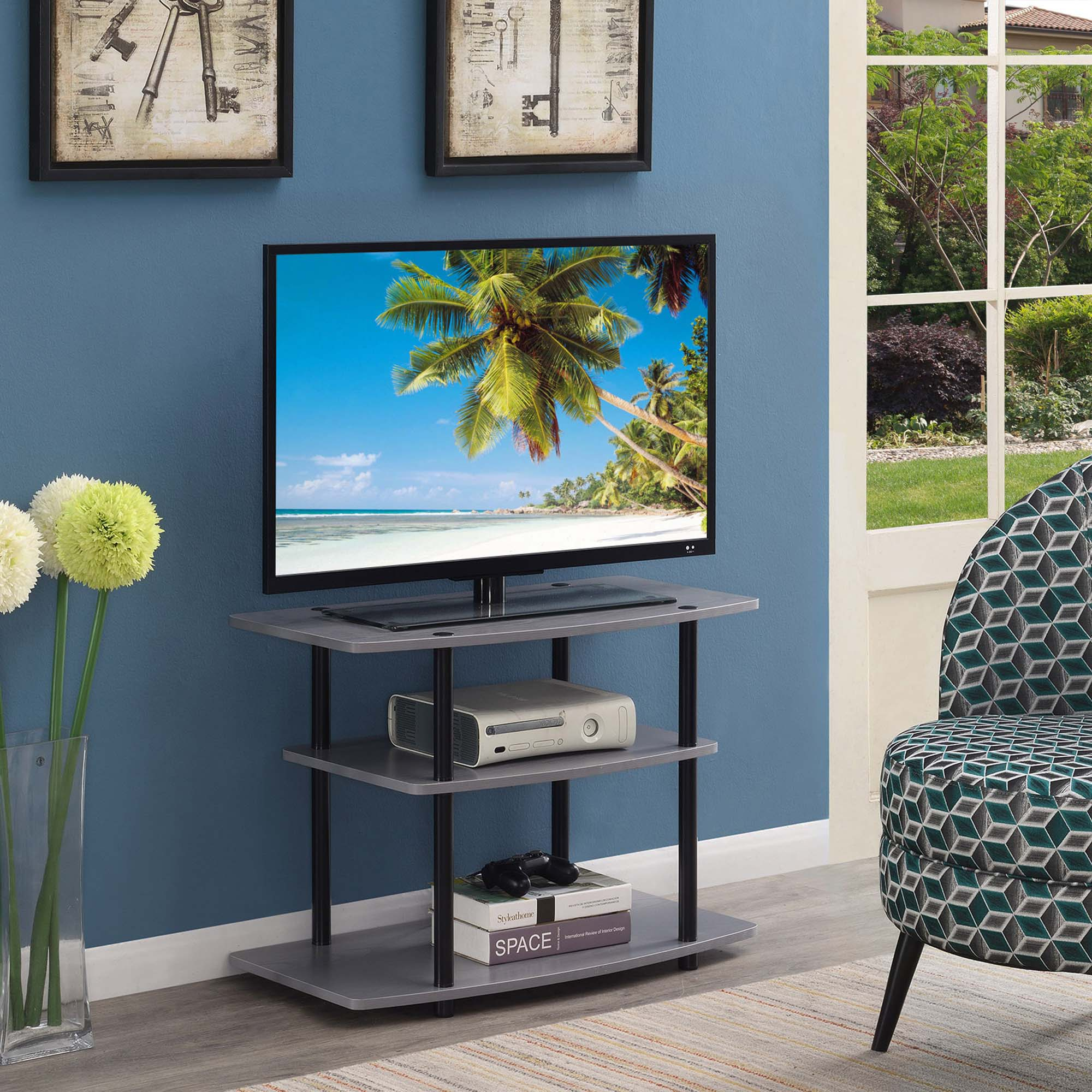 Convenience Concepts Designs2go 3 Tier Tv Stand, Gray Throughout Tier Entertainment Tv Stands In Black (View 2 of 15)