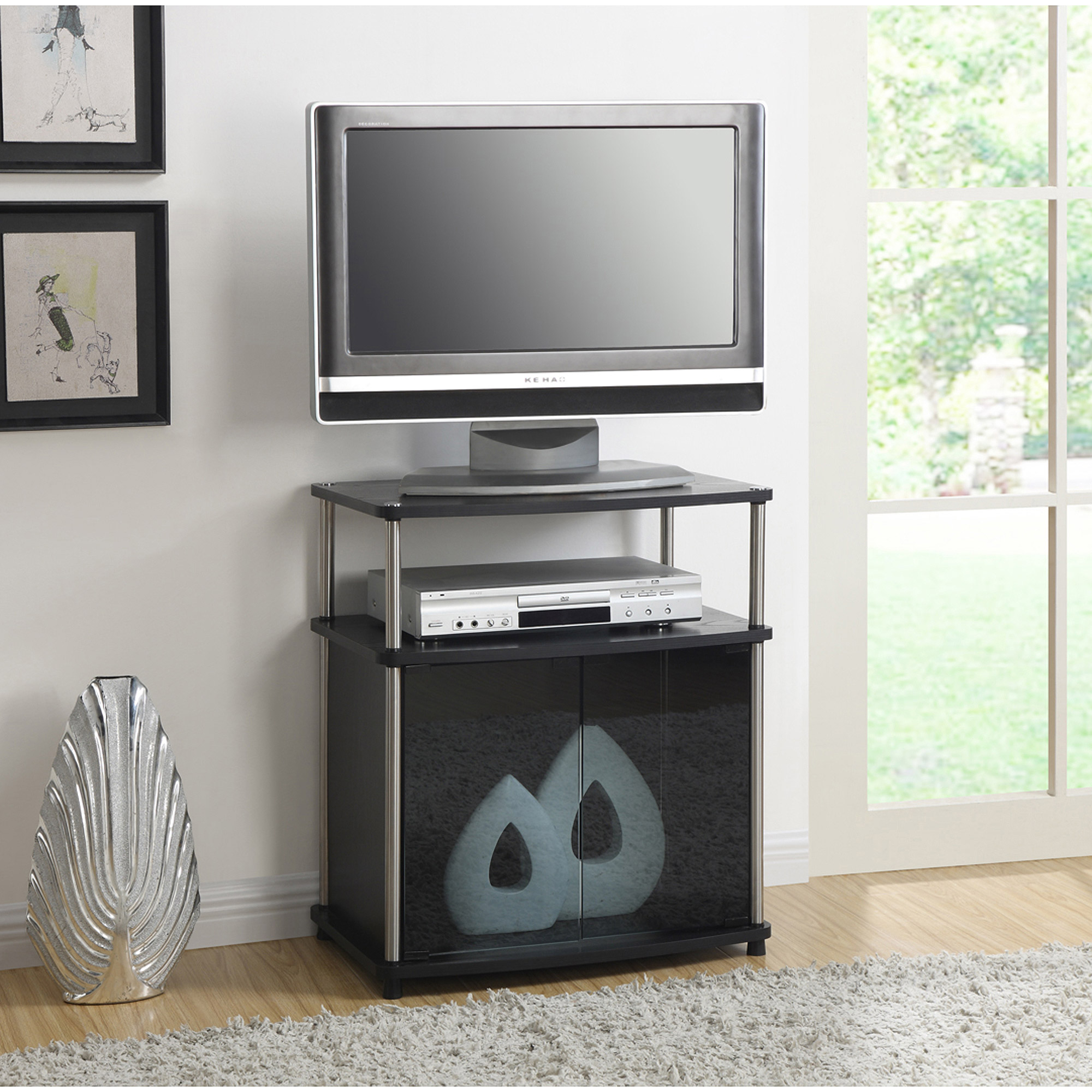 Convenience Concepts Designs2go No Tools Tv Stand With Intended For Tv Cabinets With Glass Doors (View 9 of 15)