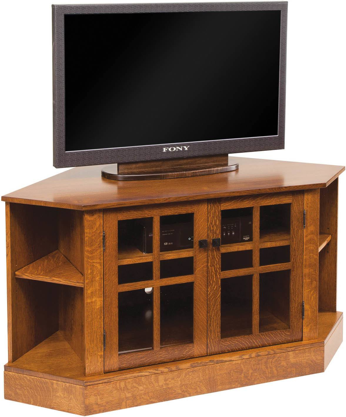 Corner Tv Cabinets And Stands | Brandenberry Amish Furniture Inside Corner Tv Cabinet With Hutch (View 7 of 15)