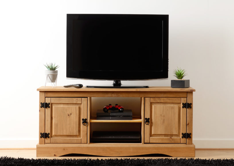 Corona 2 Door 1 Shelf Flat Screen Tv Unit – Distressed For Corona Grey Flat Screen Tv Unit Stands (View 14 of 15)
