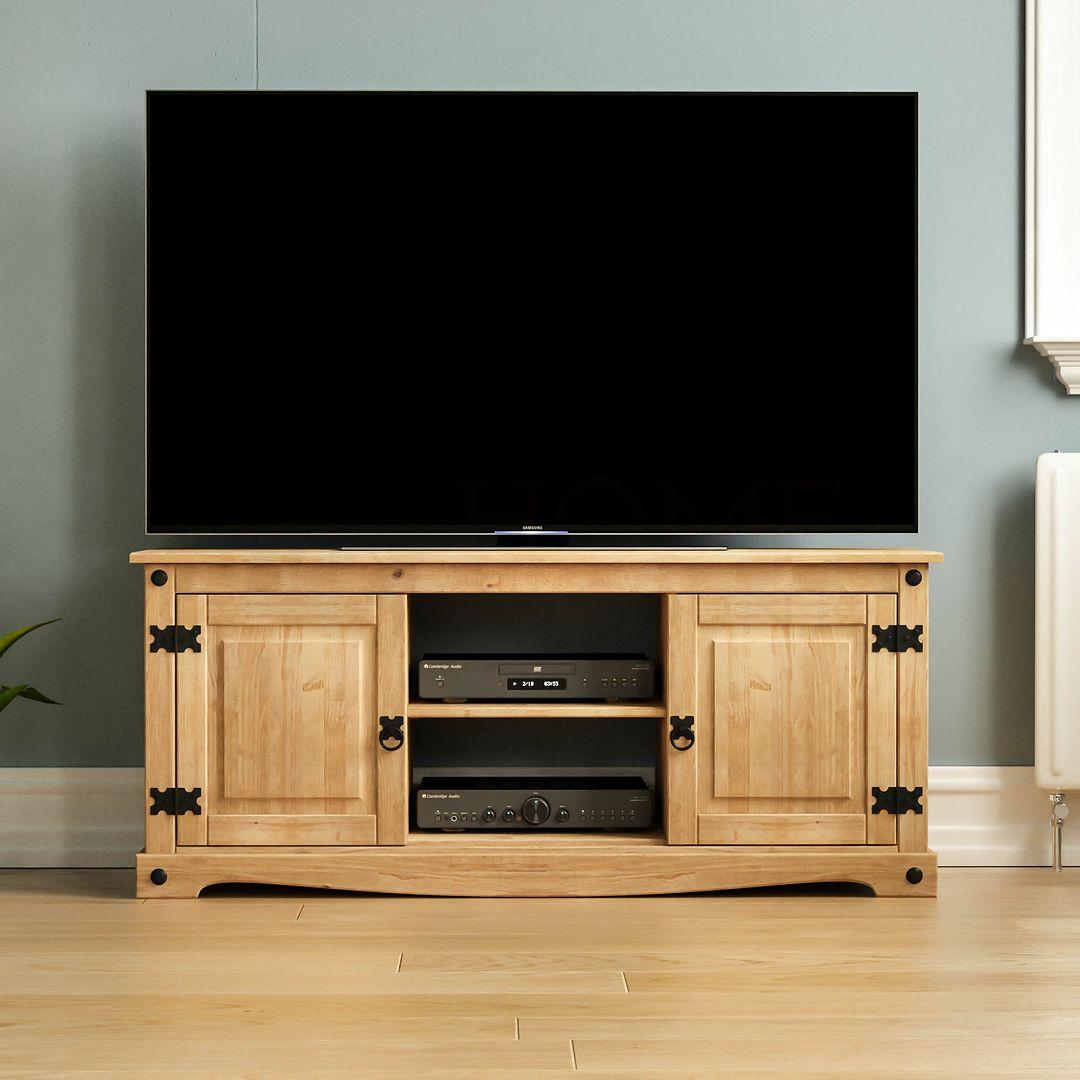 Corona Panama Tv Cabinet Media Dvd Unit Solid Pine Wood Regarding Corona Grey Flat Screen Tv Unit Stands (View 15 of 15)