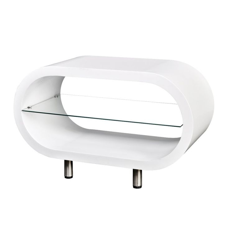 Daonanba High Gloss White Tv Stand/coffee Table Oval With Regard To White Gloss Oval Tv Stands (View 14 of 15)
