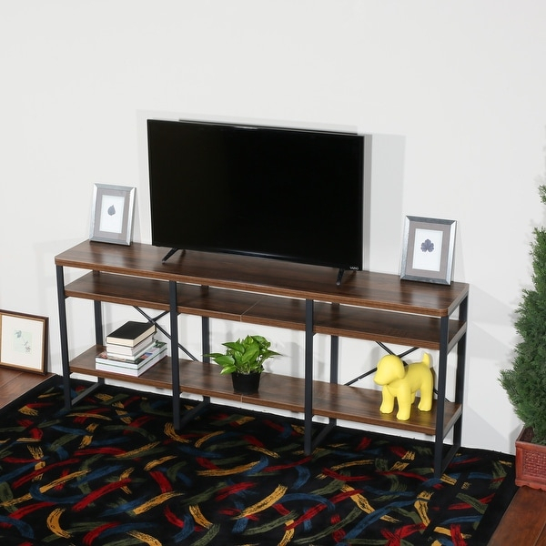 Davee Furniture Open Antigue Wood Shelves 4 Tier Within Tier Entertainment Tv Stands In Black (View 5 of 15)