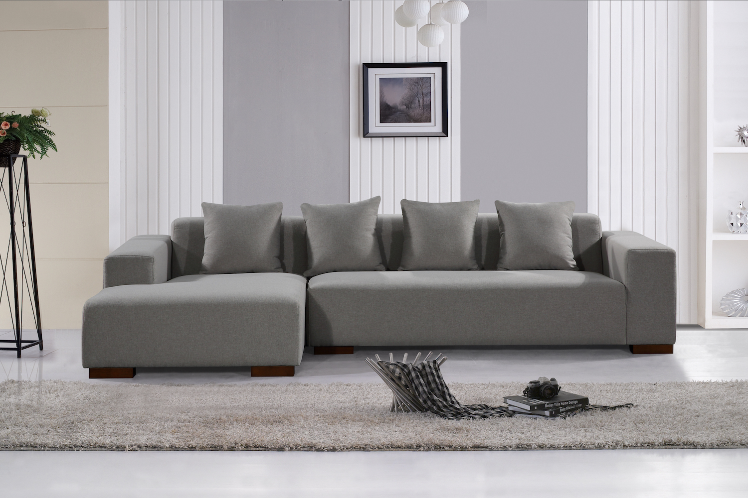Deep Seating Sectional Sofa – Light Grey Fabric Throughout Noa Sectional Sofas With Ottoman Gray (View 14 of 15)