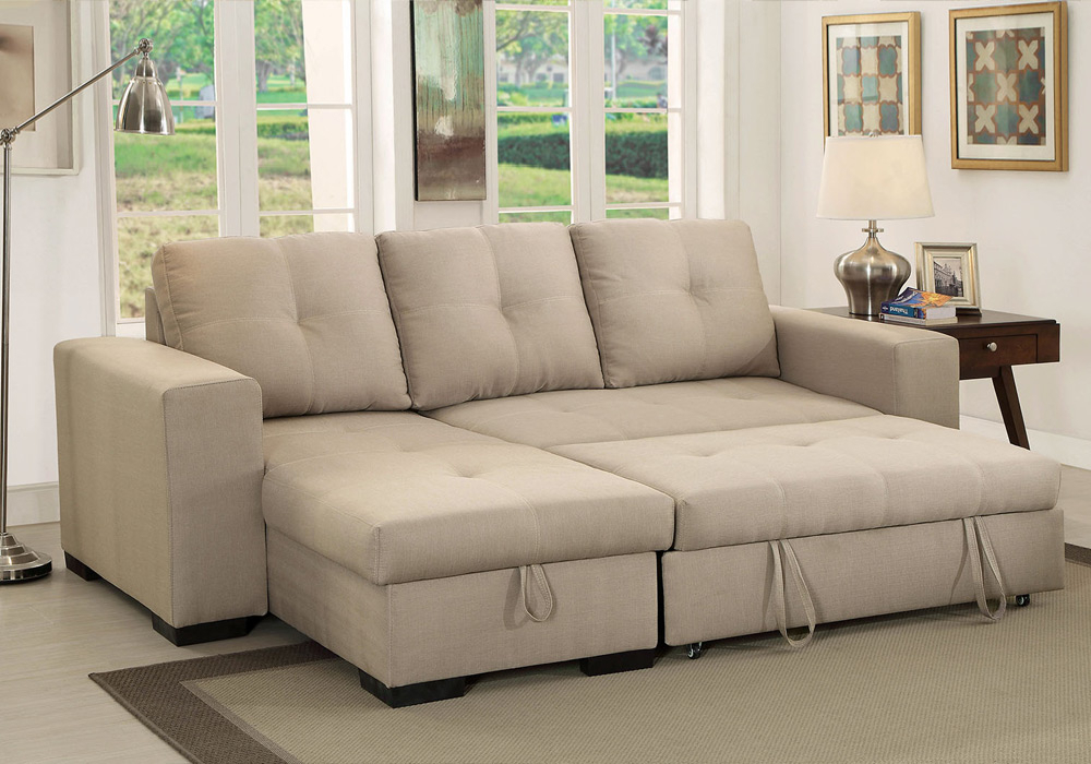 Denton Comfort Sectional Pull Out Sleeper Futon Reversible For Hartford Storage Sectional Futon Sofas (View 15 of 15)