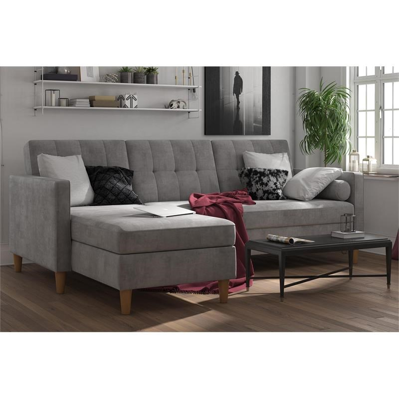 Dhp Hartford Storage Sectional Futon With Chaise In Gray In Hugo Chenille Upholstered Storage Sectional Futon Sofas (View 9 of 15)