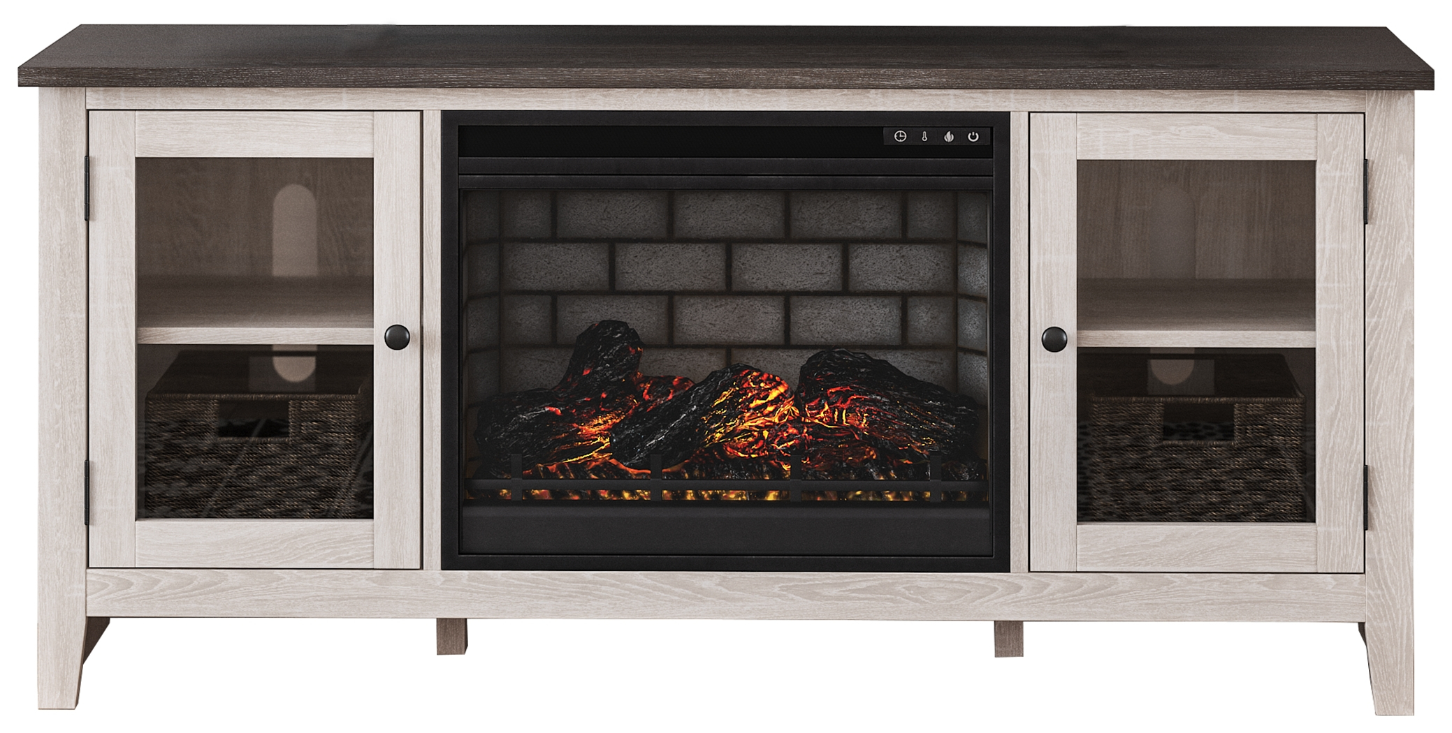 """Dorrinson 60"""" Tv Stand With Electric Fireplace Regarding Twin Star Home Terryville Barn Door Tv Stands (View 5 of 15)"""