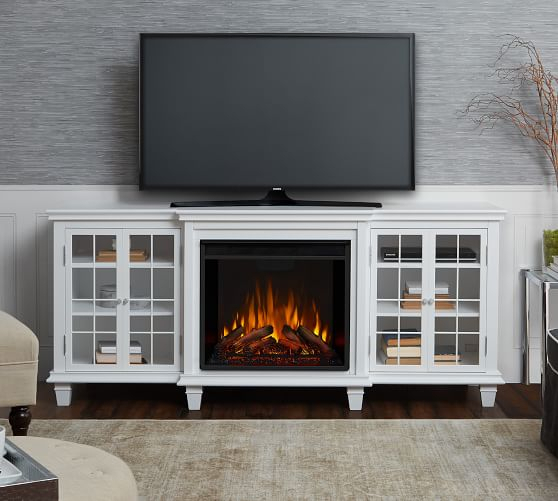 Electric Fireplace Entertainment Wall Unit – Wall Design Ideas With Regard To Twin Star Home Terryville Barn Door Tv Stands (View 15 of 15)