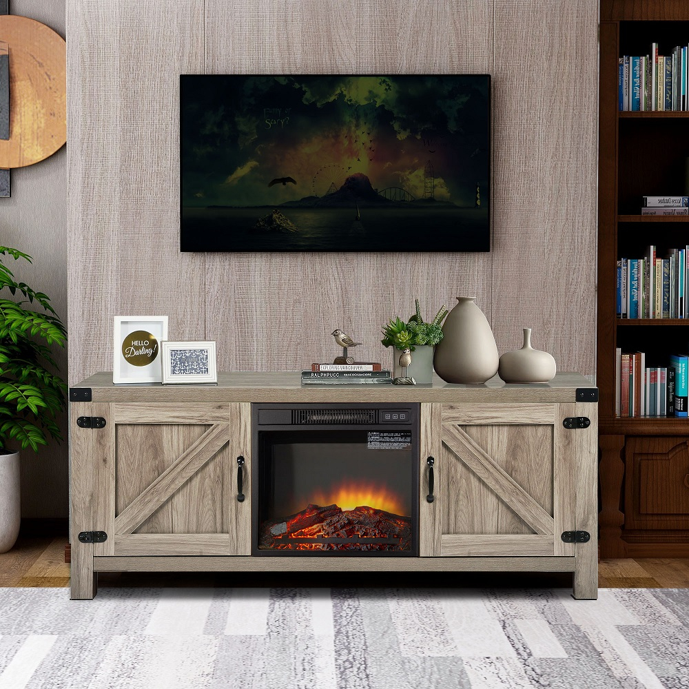 Electric Fireplace Tv Console With Remote, Farmhouse Tv Throughout Slim Tv Stands (View 4 of 15)