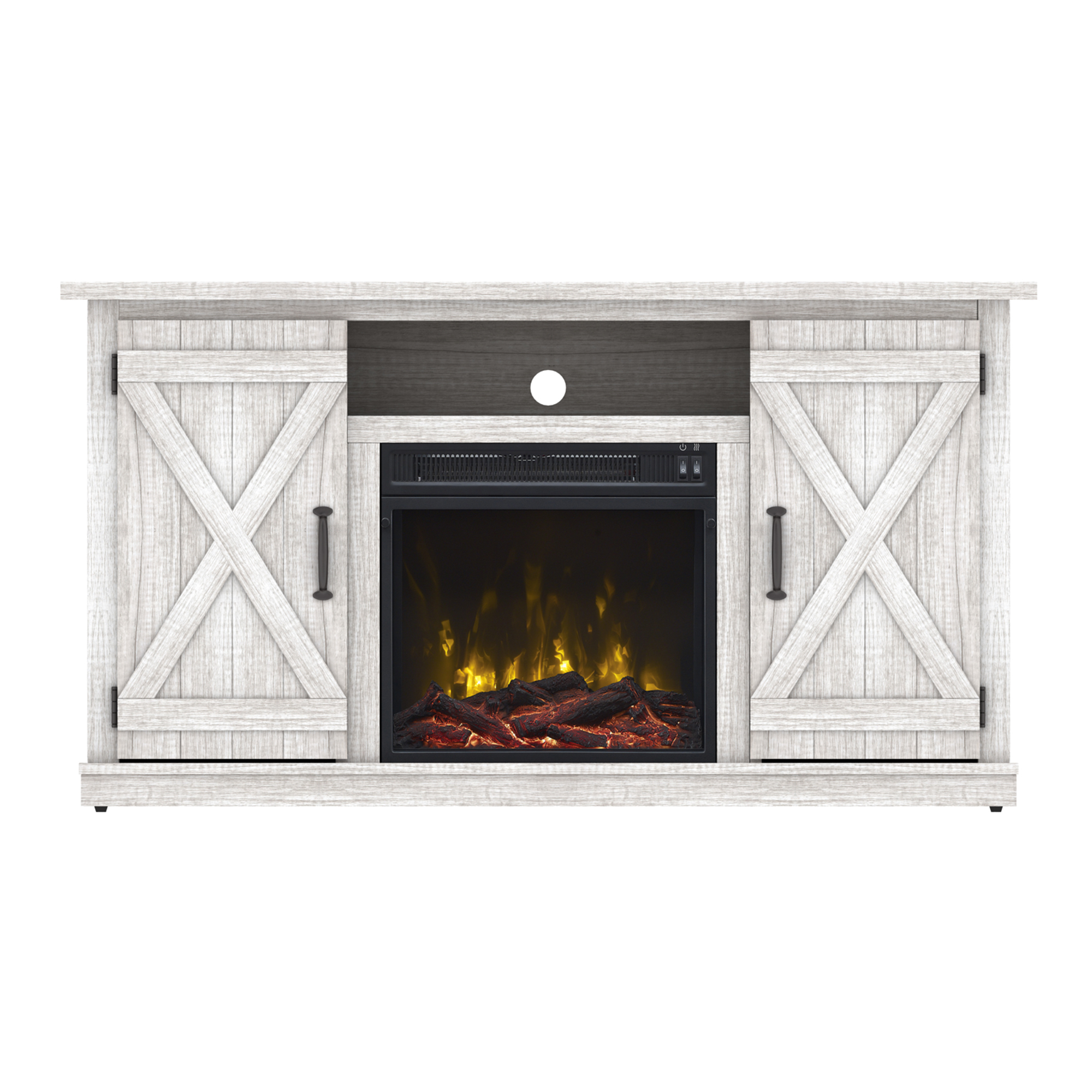 Electric Fireplace Tv Stand Wood Heater Media Within Twin Star Home Terryville Barn Door Tv Stands (View 11 of 15)