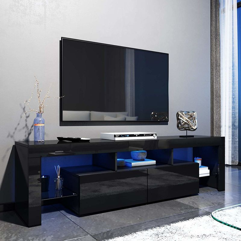 Elegant 1600mm Modern Black Gloss Tv Unit Stand With Led Within Polar Led Tv Stands (View 4 of 15)