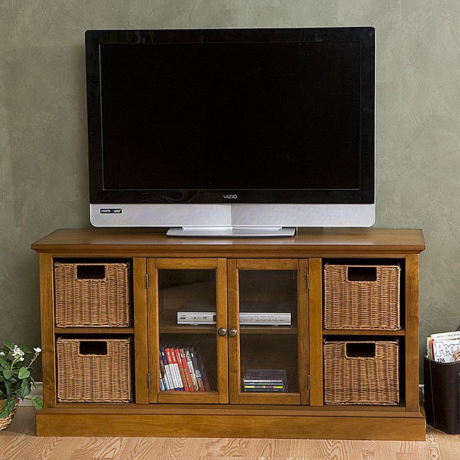 Entertainment Center With Storage Baskets – 12058323 With Regard To Jakarta Tv Stands (View 7 of 15)
