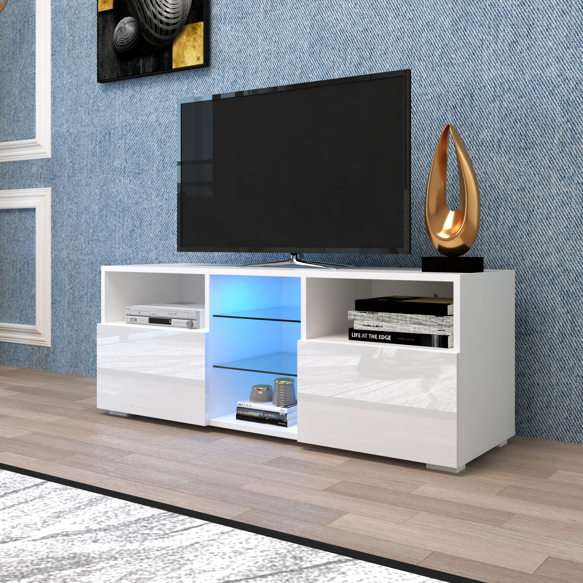 Entertainment Centers And Tv Stands, Yofe Tv Stand With 12 Intended For High Gloss Tv Cabinet (View 2 of 15)