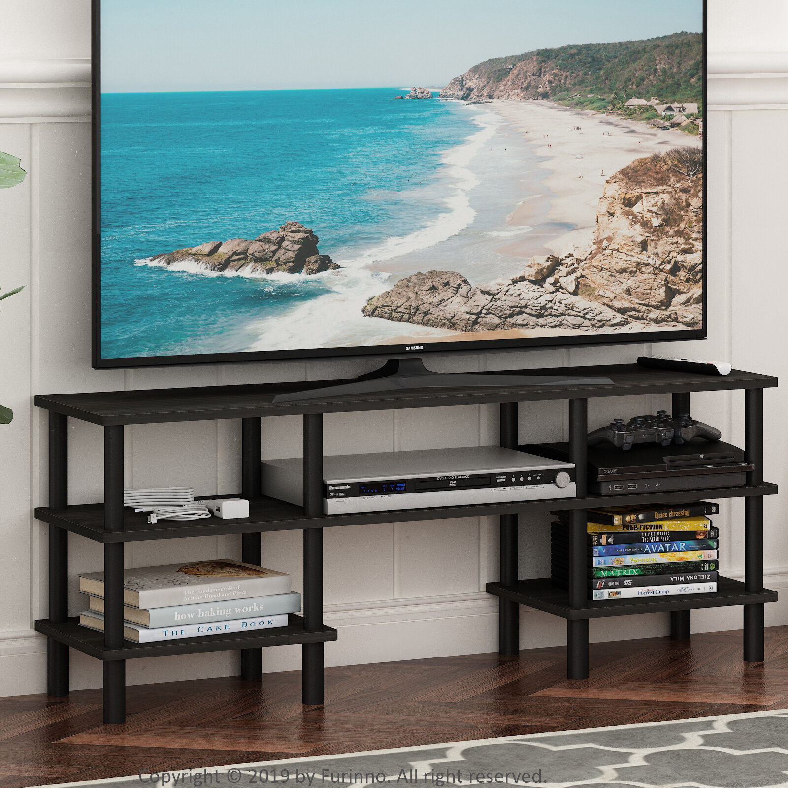 Espresso/black Furinno Turn N Tube 4 Tier Multipurpose With Tier Entertainment Tv Stands In Black (View 8 of 15)