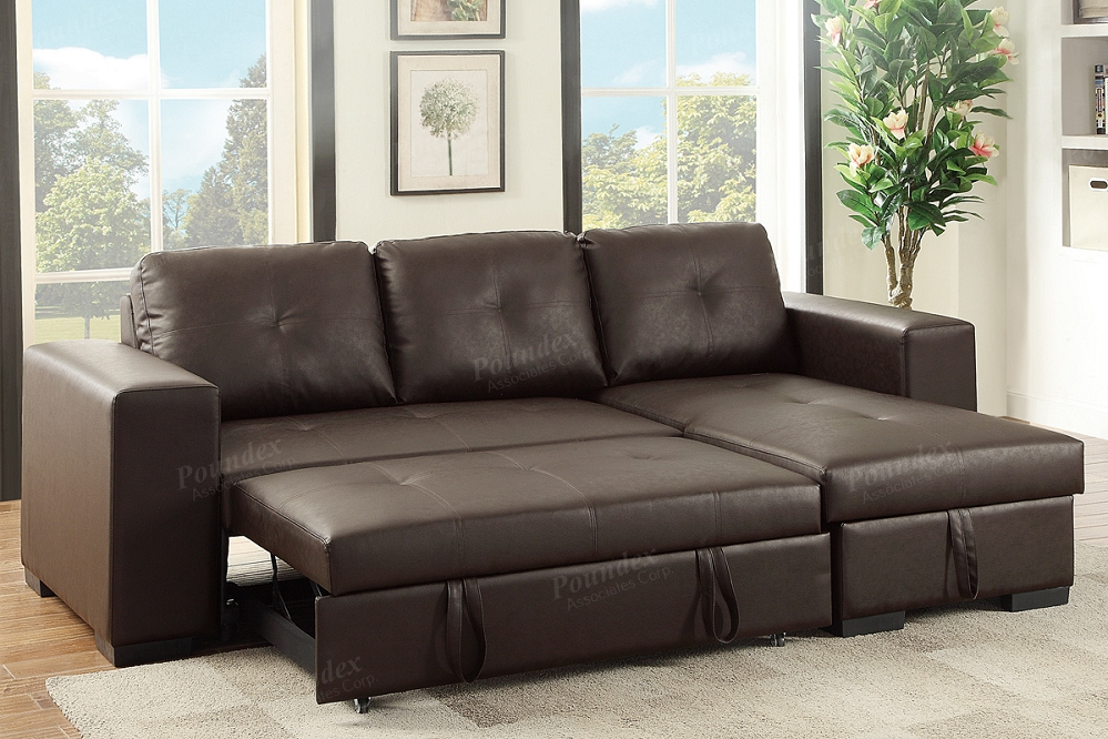Espresso Pu Convertible Sectional Storage Sofa Bed In Hartford Storage Sectional Futon Sofas (View 13 of 15)