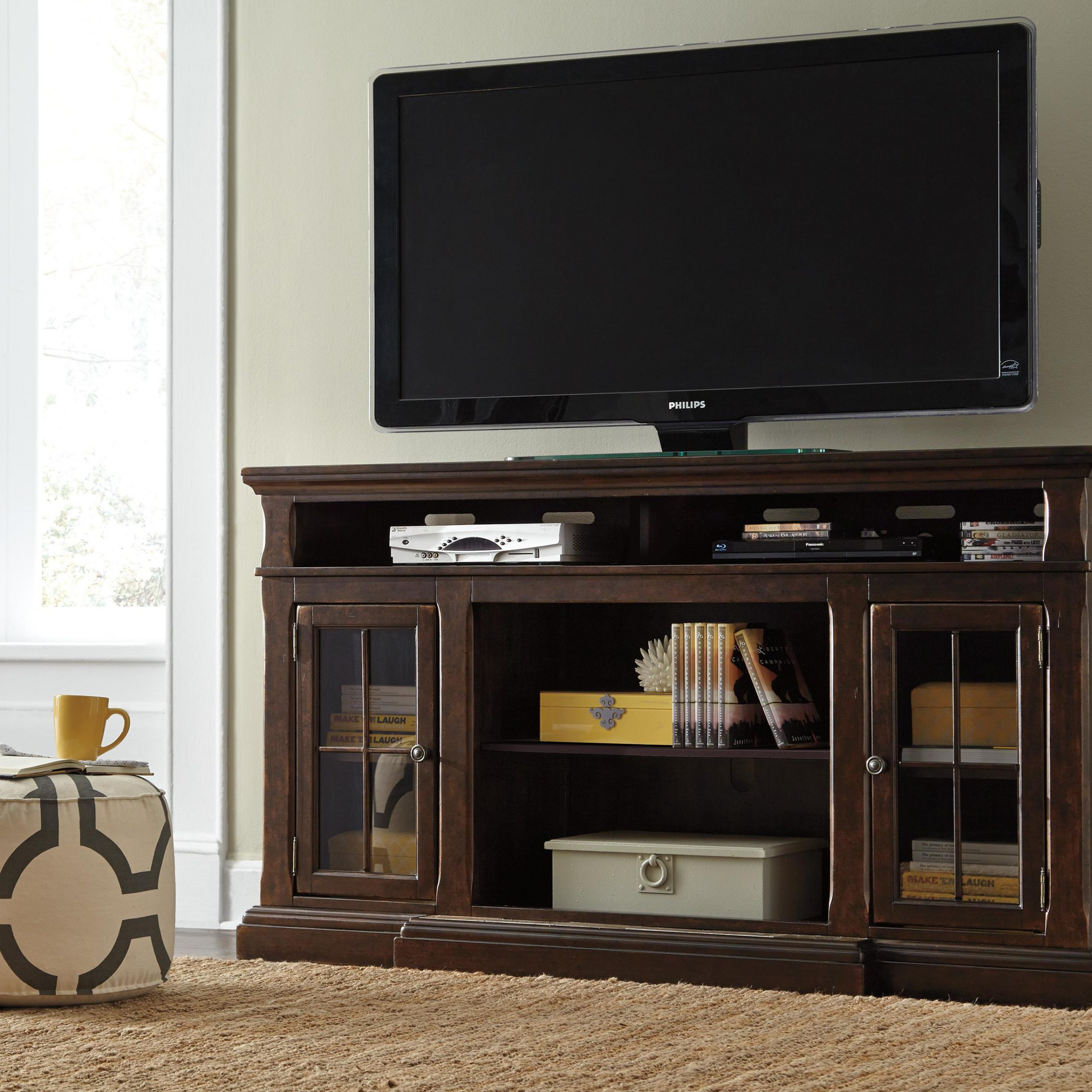Extra Large Tv Stand With Breakfront & 2 Glass Doors Intended For Tv Cabinets With Glass Doors (View 8 of 15)