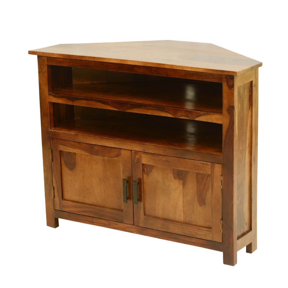 Farmhouse Solid Wood Corner Tv Media Stand With Regard To Wooden Tv Stand Corner Units (View 13 of 15)