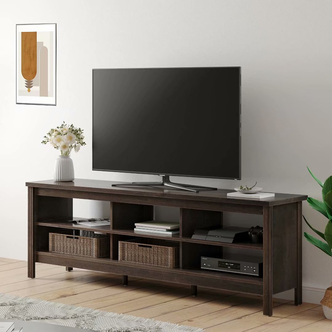 """Farmhouse Tv Stand For 75"""" Flat Screen, Console Table Throughout Tv Stands Cabinets (View 4 of 15)"""