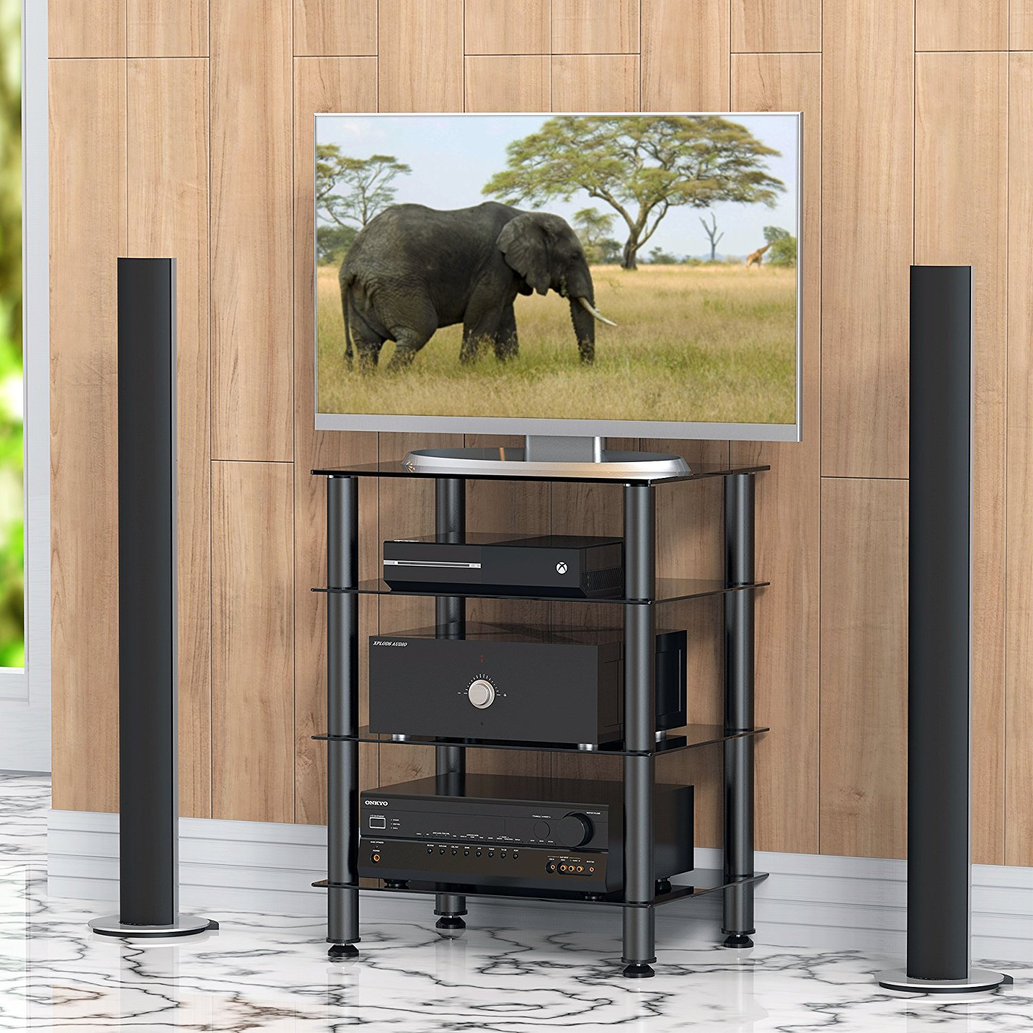 Fitueyes 4 Tier Media Component Tv Stand Audio Cabinet With Regard To Single Tv Stands (View 11 of 15)
