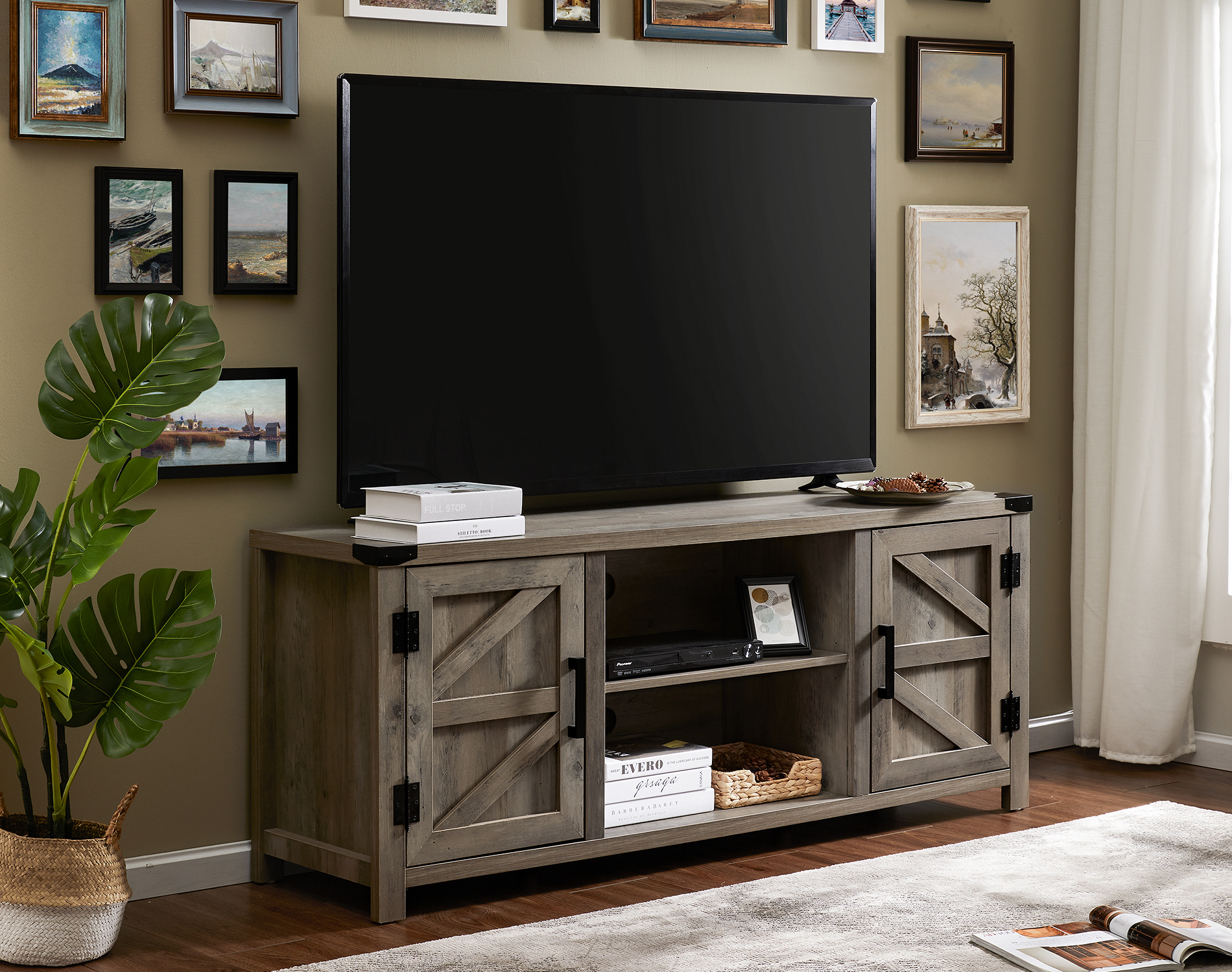 Fitueyes Farmhouse Barn Door Wood Tv Stands For 70 Inch With Regard To Corona Grey Flat Screen Tv Unit Stands (View 13 of 15)