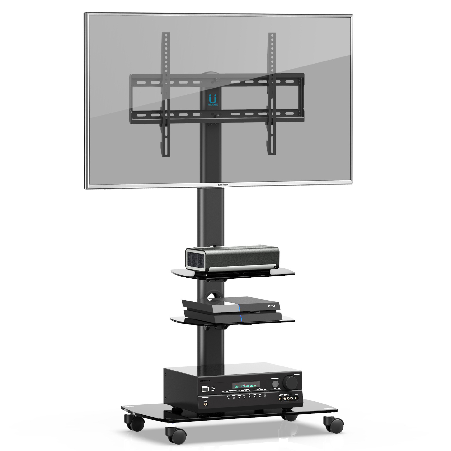 """Fitueyes Mobile Tv Stand/cart With Wheels Swivel Mount And With Regard To Paulina Tv Stands For Tvs Up To 32"""" (View 2 of 15)"""