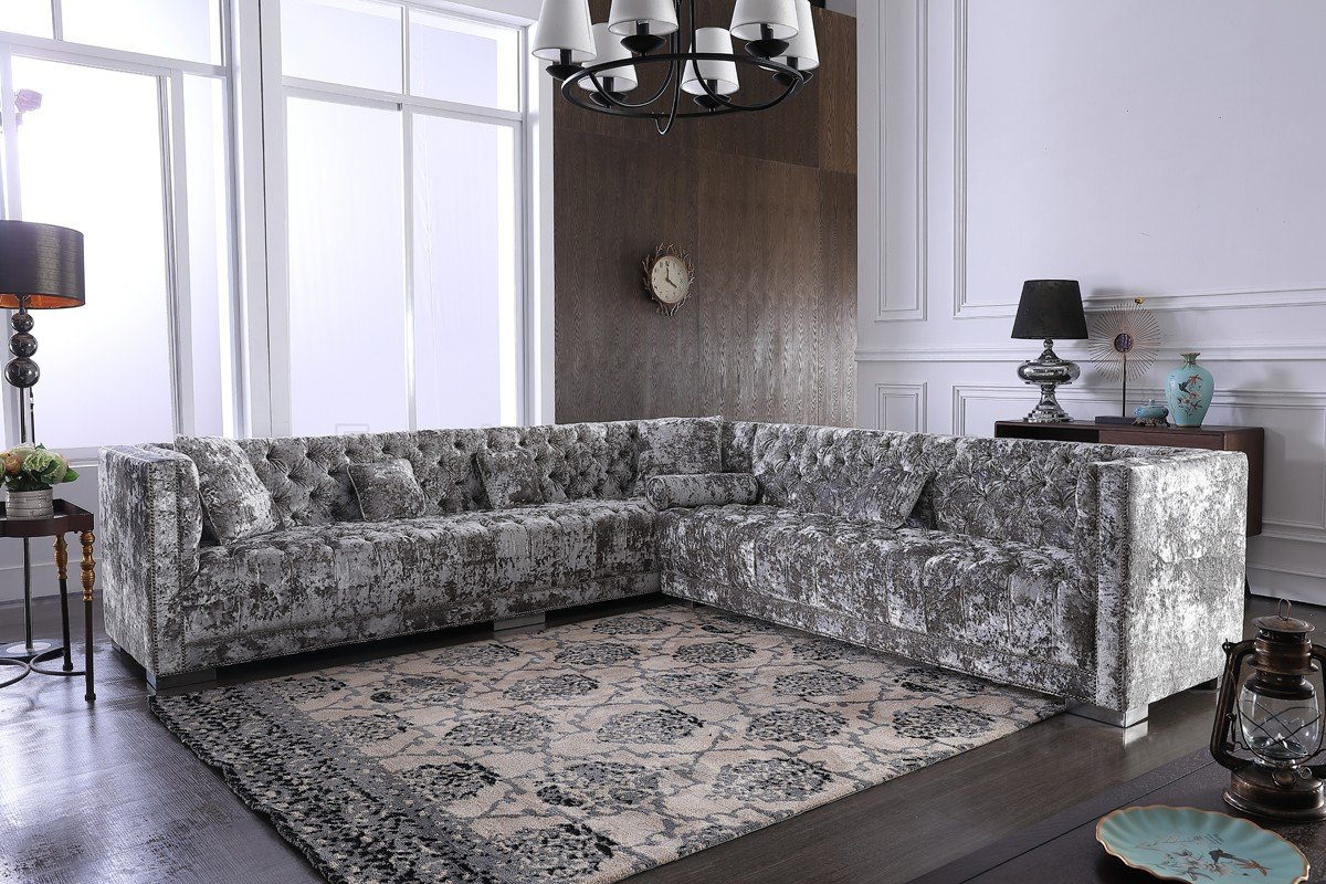 Fredrick Sectional Sofa In Grey Crushed Velvet Fabricvig Pertaining To French Seamed Sectional Sofas In Velvet (View 12 of 15)