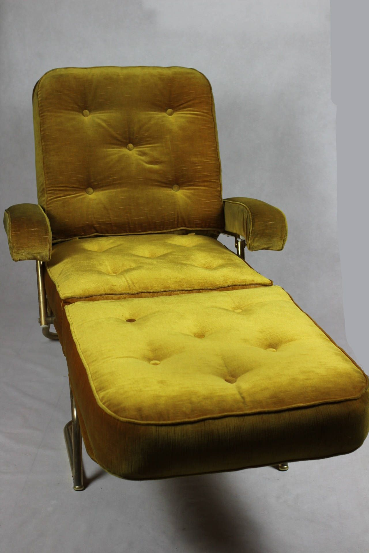 French Designer Chaise Longue // 1970's Avacado Green Within French Seamed Sectional Sofas Oblong Mustard (View 15 of 15)