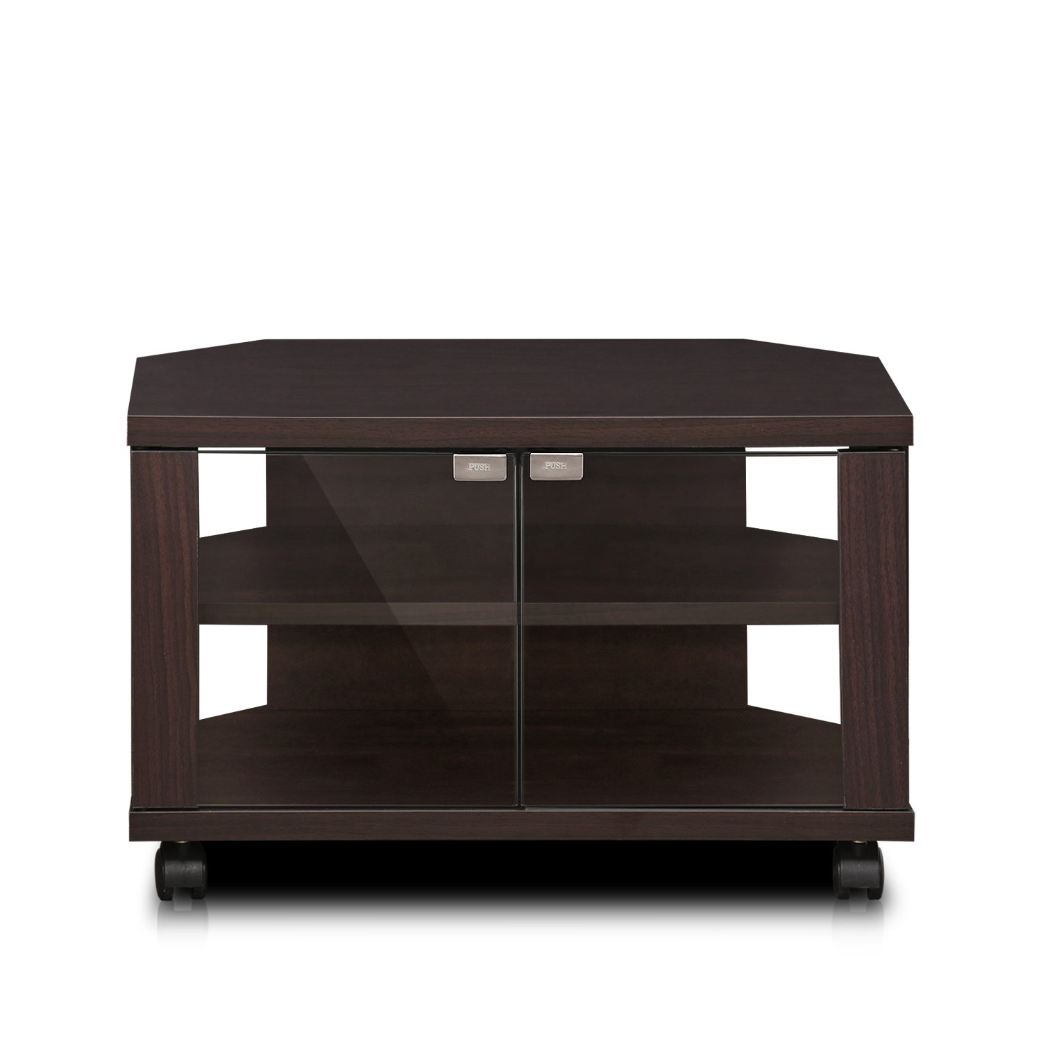 Furinno Indo Petite Tv Stand With Double Glass Doors And With Jakarta Tv Stands (View 2 of 15)