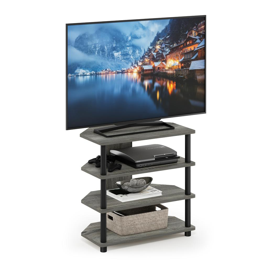 Furinno Turn N Tube Easy Assembly 4 Tier Petite Tv Stand With Regard To Tier Entertainment Tv Stands In Black (View 14 of 15)