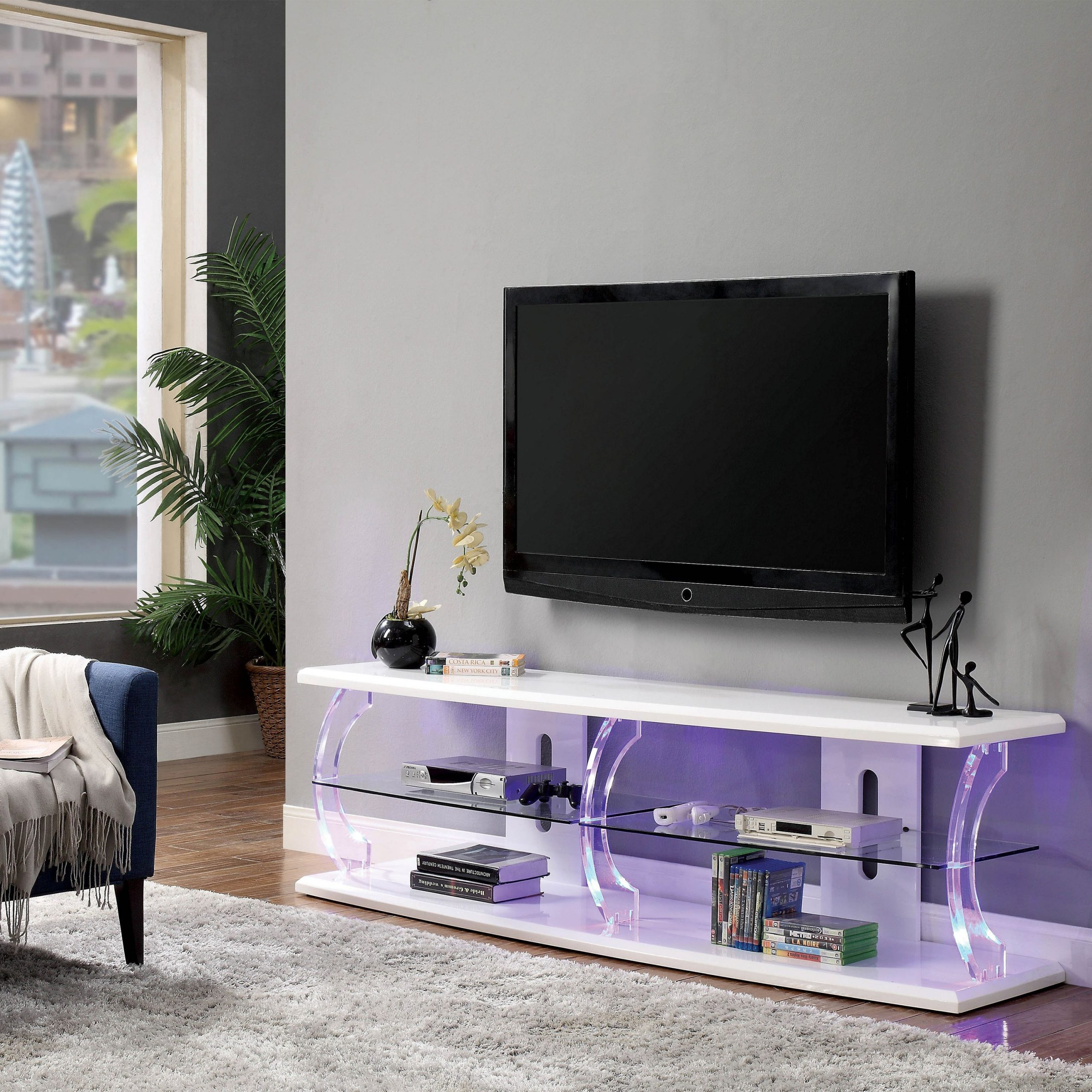 Furniture Of America Daley Modern White 60 Inch Led Tv Regarding Polar Led Tv Stands (View 7 of 15)