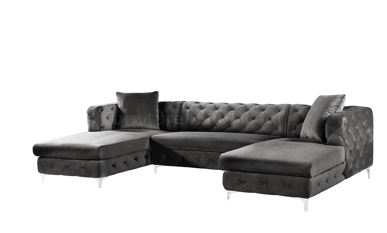 Gail Sectional Sofa 664 In Grey Velvet Fabricmeridian Intended For French Seamed Sectional Sofas In Velvet (View 6 of 15)