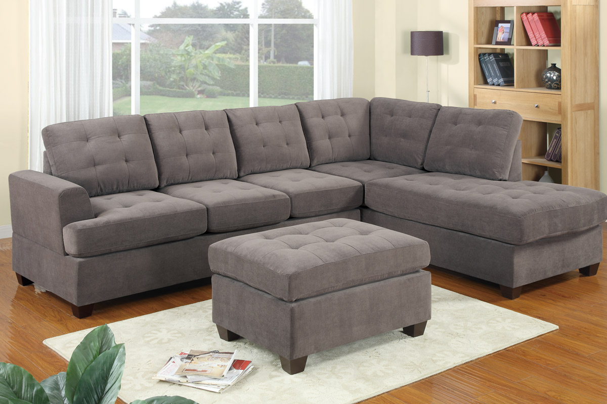 Gray Sectional Sofa With Chaise: Luxurious Furniture Inside Noa Sectional Sofas With Ottoman Gray (View 9 of 15)