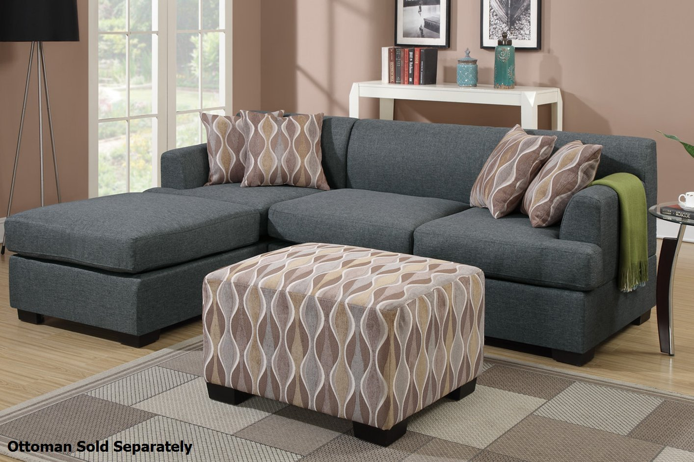 Grey Fabric Sectional Sofa – Steal A Sofa Furniture Outlet With Regard To Noa Sectional Sofas With Ottoman Gray (View 6 of 15)
