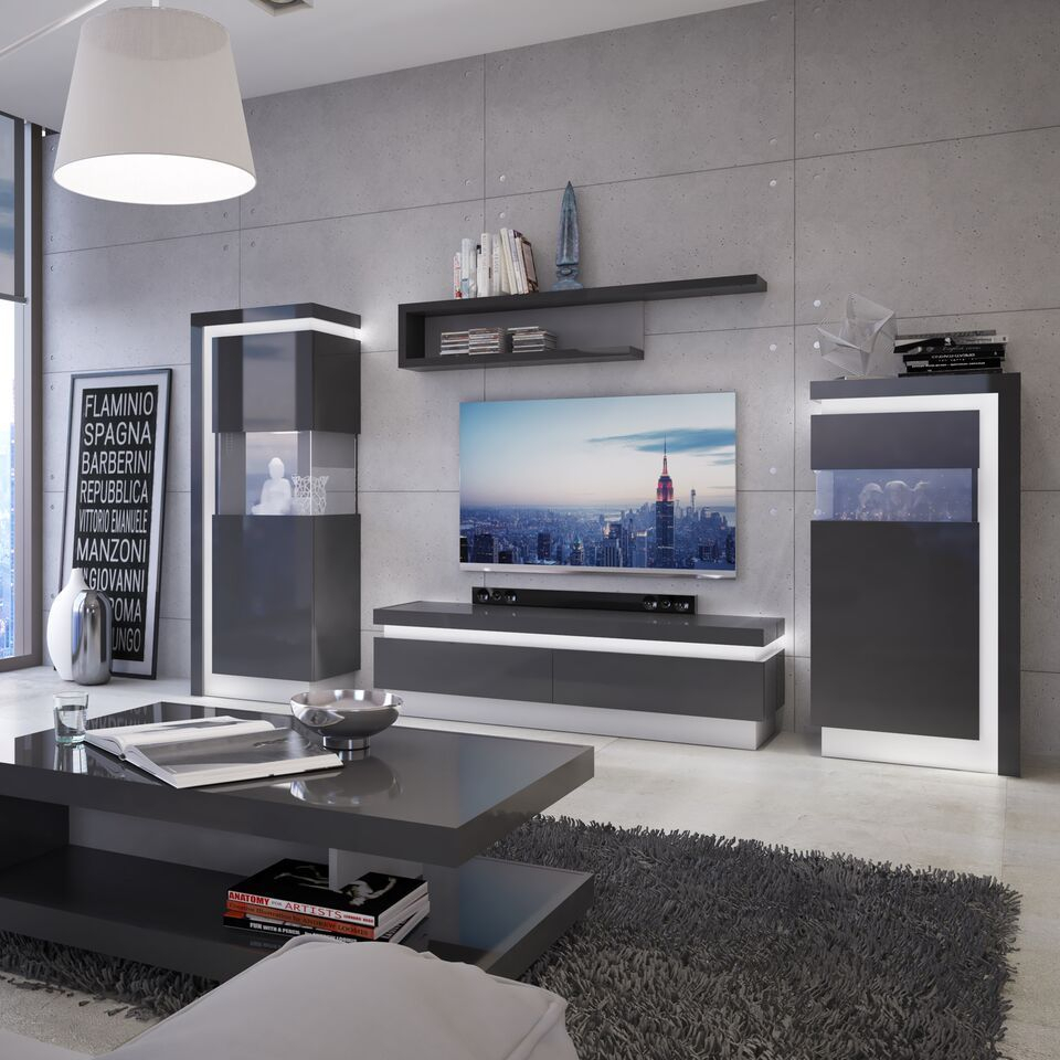 Grey High Gloss 1 Drawers Tv Cabinet – Homegenies Within High Gloss Tv Cabinet (View 13 of 15)