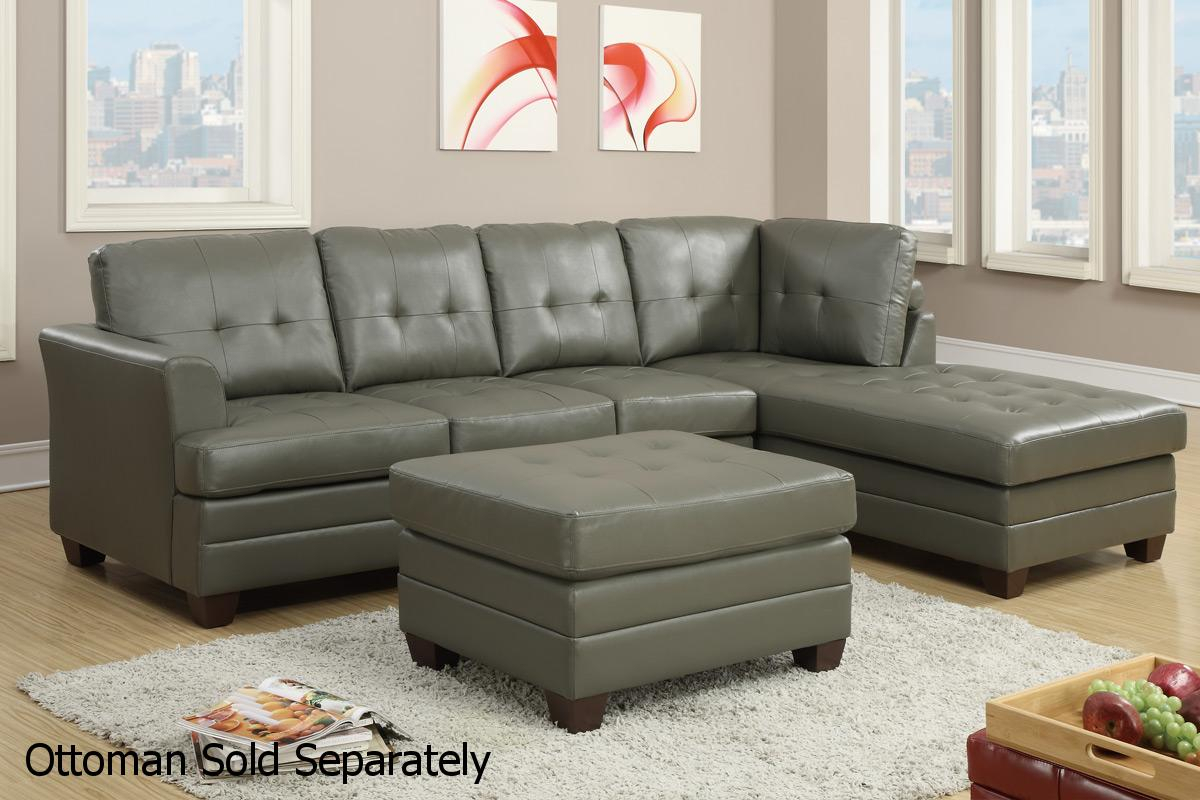 Grey Leather Sectional Sofa – Steal A Sofa Furniture Inside Noa Sectional Sofas With Ottoman Gray (View 7 of 15)
