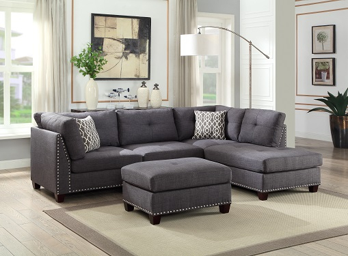 Grey Studded Linen Sectional Sofa W/ Chaise Lounge And Regarding Noa Sectional Sofas With Ottoman Gray (View 8 of 15)